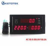 AC 80-300 V 0-100A medidor de potencia amp monitor con pantalla de led rojo amperios volt activa potencia aparente factor de potencia de la CT