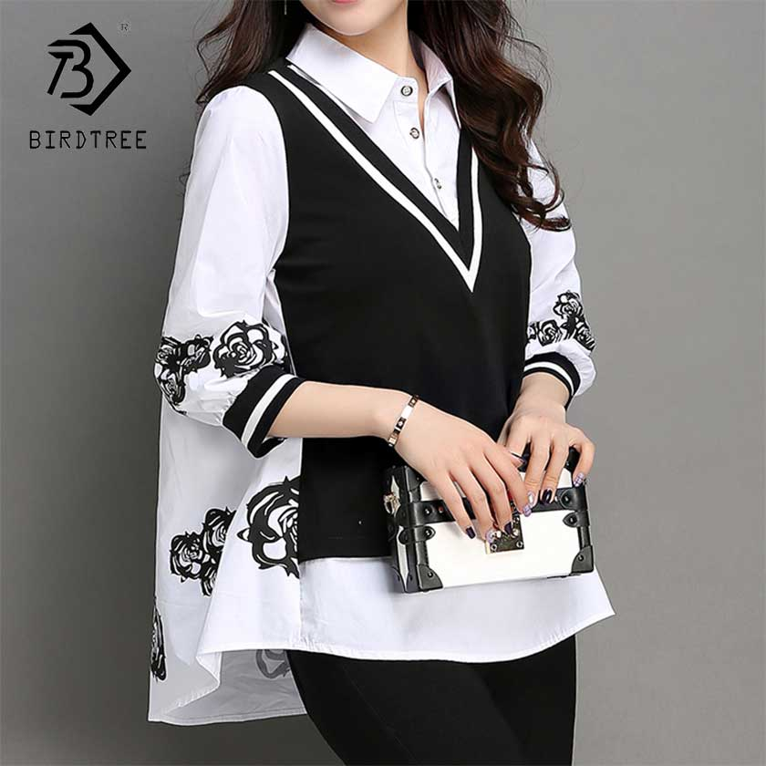 2019 New Spring Women's Plus Size Floral Print Button Fake Two Pieces Blouse Turn-down Three Quarter Top Fashion Elegant T93503