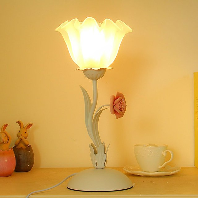Pastoral Bedroom Bedsides Table Light Glass Lampshade Ceramic Rose Living Room Table Lamp Study Room Desk Lighting Fixtures