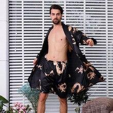 Черный мужской Халат+ шорты, комплект из двух предметов для сна, летняя атласная пижама, кимоно, халат с принтом дракона, ночное белье, большие размеры 3XL 4XL 5XL