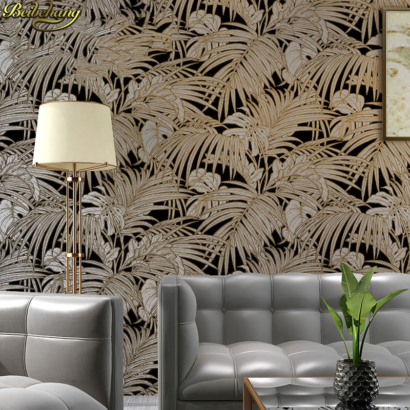 beibehang Southeast Asia Tropical Rain Banana Leaf Palm Leaf Wallpaper Nordic Living Room Bedroom Background Wall Paper stereo style wall paper non woven embroidery like coconut trees in southeast asia an elephant bed bedroom living room background