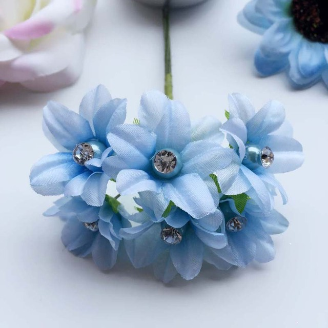 60pcs 3cm Artificial Small Lily Bouquet Silk Flowers With Diamond
