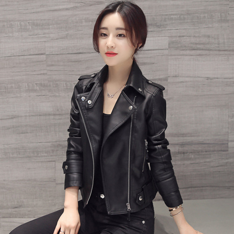 Turn-down Collar Women Autumn   Leather   Jacket Black Slim Moto Biker Female Faux   Leather   Coats Outwear