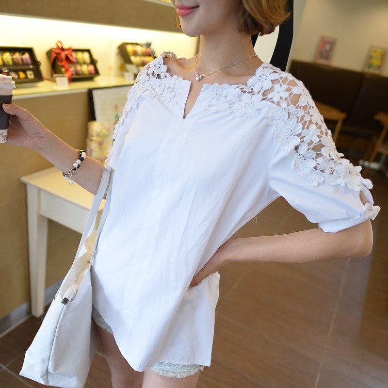 Taille Vêtements Casual Out Plus Nouvelle À Manches Noir Tops Blouses Chemise Chemises Dentelle Creux Femme La Femmes blanc Courtes vax1qwEv