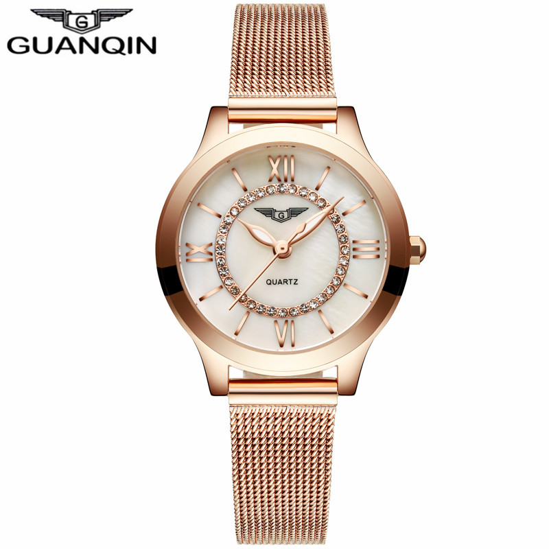ФОТО GUANQIN GS19042 Luxury Brand Fashion Womens Watches Luminous Clock Women Steel Rose Gold Bracelet Quartz Watch reloj mujer