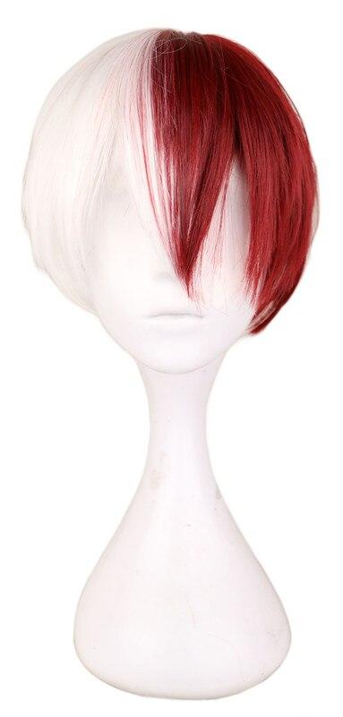 QQXCAIW Для мужчин короткий костюм Косплэй парик мальчики половина белый половина красный 30 см жаропрочного синтетического парики ...