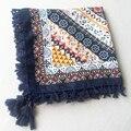 110x110 Bohemia Square Scarf Women Stripe Bandana Twill Cotton Boho Wrap Brand New