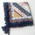 110x110 Raya de Las Mujeres de Bohemia Bufanda Cuadrada Pañuelo Sarga de Algodón Boho Venda caliente A Estrenar