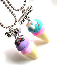 Children Best Friend Necklace Resin Pink Blue Purple Ice Cream Heart Pendant BFF 2 Necklace Jewelry Gifts For Kids 2PCS/Set(China)