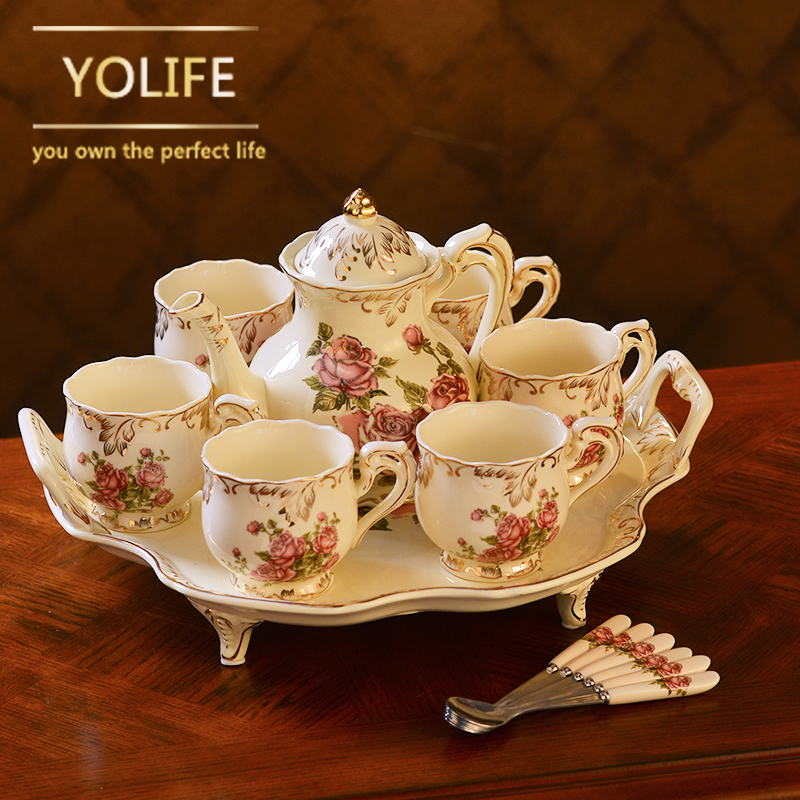 Hot sale Yolife Porcelain Tea Pot Ivory Teapot Sugar Bowl Pot Set Coffee Kettle Birthday Xmas Gift
