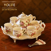 Hot sale Yolife Porcelain Tea Pot Ivory Teapot Sugar Bowl Pot Set Coffee Kettle Birthday Xmas Gift