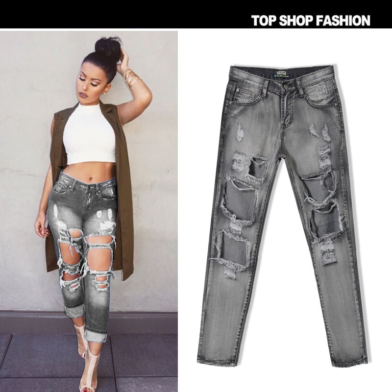 Boyfriend Big Hole Ripped Jeans Women Pants Denim Vintage Straight ...
