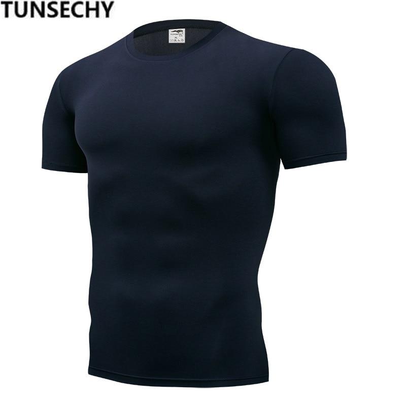 2019 Men's Fashion T-shirt Men's Casual Compression Tight T-shirt Short Sleeve Plain Sport T-shirt