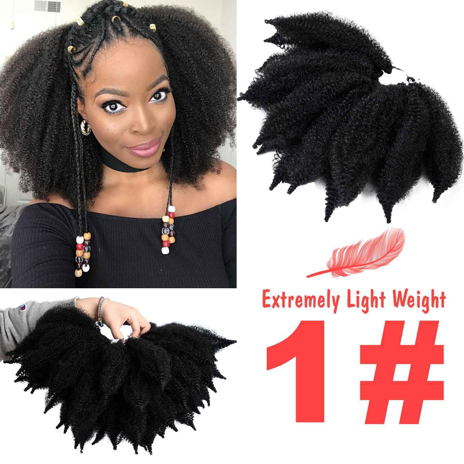 8 ''Crochet Marley Kepang Rambut Hitam Lembut Afro Twist Sintetis Mengepang Rambut Ekstensi Serat Suhu Tinggi untuk Wanita