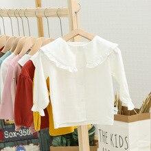 Dollplus/детские белые рубашки для маленьких девочек; Осенняя детская одежда с длинными рукавами; милые топы для малышей; блузки с оборками и отложным воротником для девочек