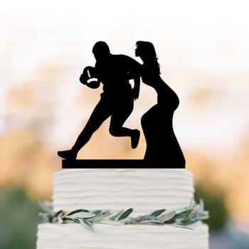 Rugby Topper tort weselny Rugby sport wentylator panna młoda i pan młody gry rugby Topper tort weselny unikalne ciasto Topper tanie i dobre opinie LSX0123 Akrylowe Ślub Rocznica Ślub i Zaręczyny Walentynki