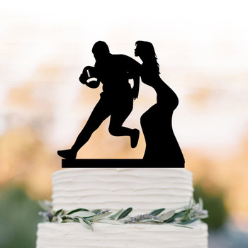 Rugby player Wedding Cake Topper, Rugby Sports Fan, Bride and Groom playing rugby Wedding Cake Topper, unique Cake Topper, фото