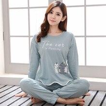 Бренд Демисезонный Длинные рукава хлопок Для женщин пижамный комплект кот пижамы Обувь для девочек пижама Mujer леди Повседневное домашняя одежда