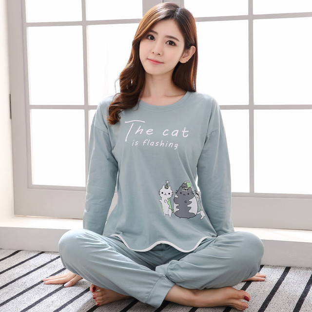 Brand Spring Autumn Long Sleeved Cotton Women s Pajamas Set Cartoon Cat  Sleepwear Girls Pyjamas Mujer Lady Casual Home Clothing 4aab4df9e