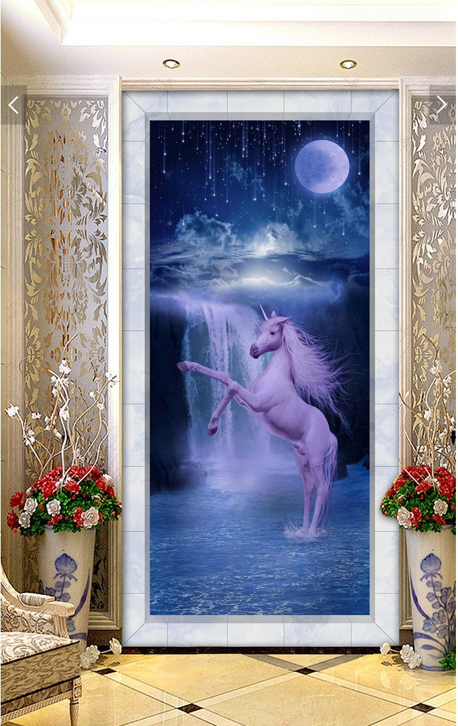 Custom photo 3d wallpaper Non-woven mural The moon falls unicorn porch Living room decoration painting 3d wall murals wallpaper custom photo 3d wallpaper mural non woven the wolf in the night background wall painting living room wallpaper for walls 3d