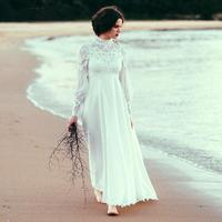 High Neck Lace Boho Wedding Dresses 2016 With Long Sleeve A Line Chiffon vestido de noiva Vintage Plus Size Bridal Gown Dress