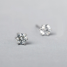 Funmor Small Round Zircon Earring 925 Sterling Silver Ear Jewelry Women Girls Basic Brincos Routine Daily Decoration Accessories