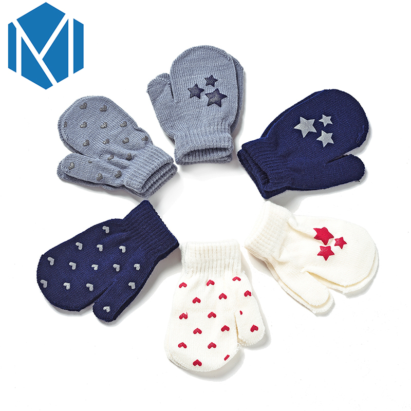 Miya Mona New Star Kids Children Unisex Winter Warm Lanyard Glove Boy Girl's Wool Knitted Luvas Covered Fingers Mittens Gloves