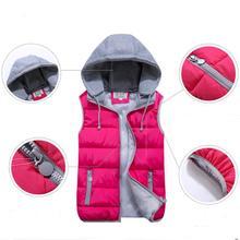 1PC 2016 Women Vest Colete Feminino Winter Short Vest Women Hooded Cotton Padded Veste For lover waistcoat