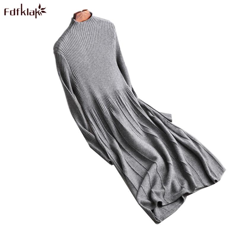 Fdfklak 2018 New Women's Autumn Winter Dress Warm Wool Dresses Female Knit Cashmere Dress Women Long Pullovers vestidos mujer