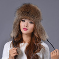 2016 Women Real Fox Fur Hat Winter Ushanka/Cossack Bomber Cap Raccoon Fur Earmuff Thick Warm Russian Hat