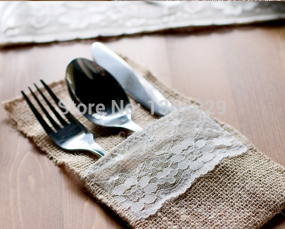 Cheap Price 50pcs Jute Hessian Burlap Cutlery Holder Pouch Rustic Wedding Centerpieces Vintage Wedding Decoration Table Decor In Party Diy Decorations