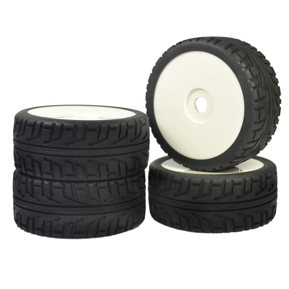 RC 1:8 On Road Car Buggy Rubber Tyre Tires & Plastic white Wheel Rims Street Tyres HUB HEX 17 mm Have foam inserts 4PCS 4pcs 1 9 rubber tires