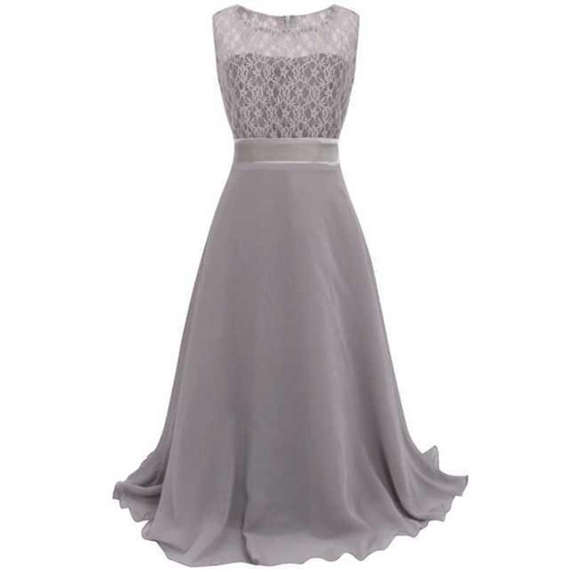 Summer Girls Dress Chiffon Sleeveless Infant Long Dress O Neck Girl Wedding Dresses Lace Kids Party Clothes Children Clothing (20)