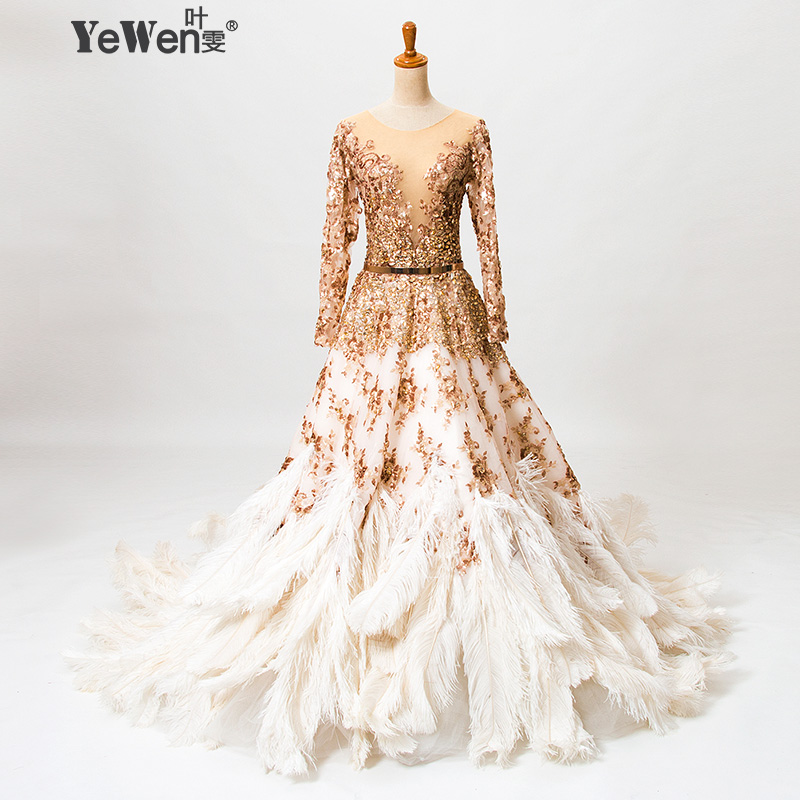 Buy ostrich feathers gold long sleeves v for Wedding dress with ostrich feathers