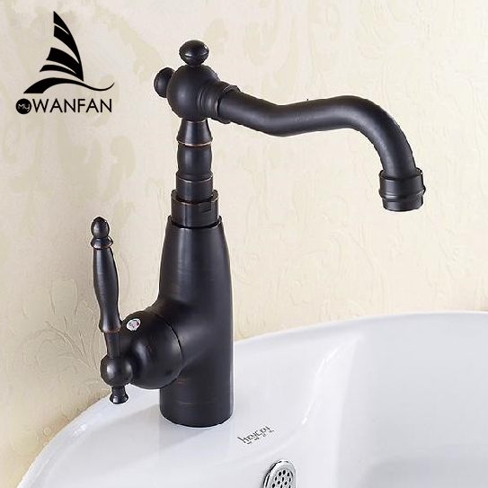 Basin Faucets Black Antique Brass Retro Bathroom Sink Faucet Single Lever Tall Rotate Spout Bath Deck Hot Cold Mixer Tap AST1306 retro antique brass bathroom kitchen faucet single handle single hole rotation spout deck cold and hot water mixer sink tap