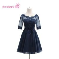 Scuro blu navy adulto damigella d'onore o collo bridesmade donne sposa vestito da estate delle signore abiti da festa per ragazzi 2 ball gown H4059