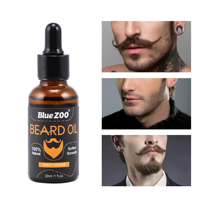 30ml 100% Natural Men Beard Oil For Styling Beeswax Moisturizing Beard Growth Balm Gentlemen Moustache Beard Care Conditioner