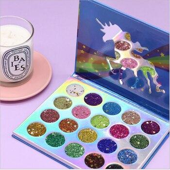 Unicornio 20 Color sombra de lentejuelas bandeja verano etapa maquillaje purpurina polvo perlado sombra de ojos Pallete cosméticos a prueba de agua