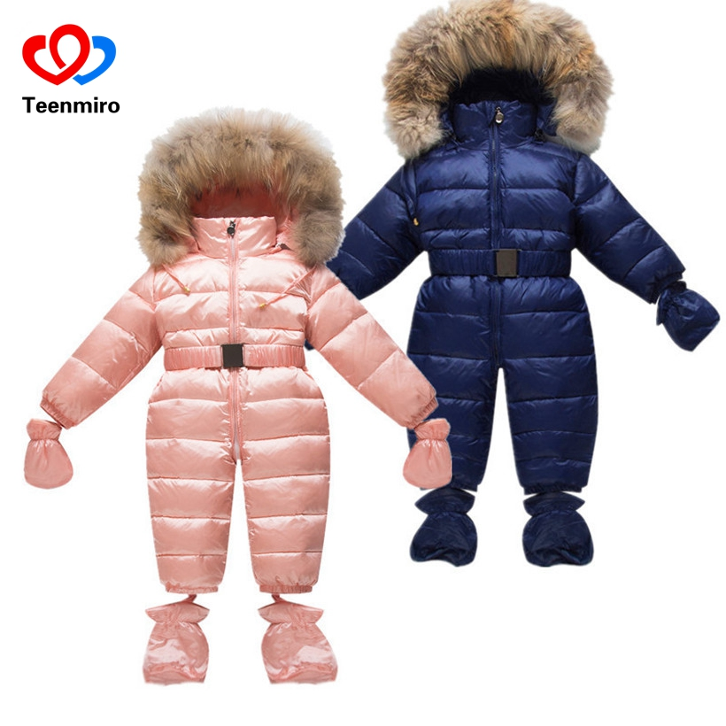 Winter Children Snow Coveralls Baby Snowsuit Real Fur Collar Infant Toddler Snowsuits Boys Girls Duck Down Jumper Gloves Socks flower baby girls princess dress girl dresses summer children clothing casual school toddler kids girl dress for girls clothes page 8