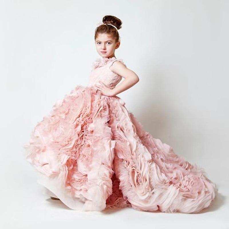 Pink Vestidos de First Communion Sleeveless Ruffles Square Collar Flower Girl Dress Little Princess First Communion Dress 2018