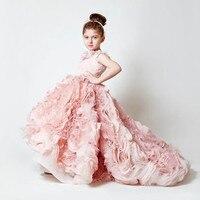 Pink Vestidos De First Communion Sleeveless Ruffles Square Collar Flower Girl Dress Little Princess First Communion