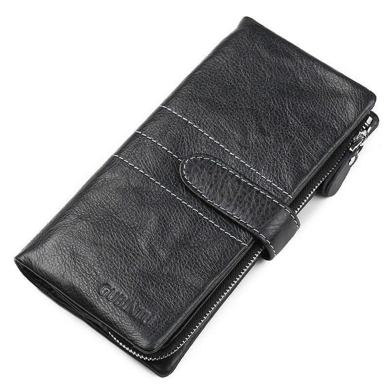 Роскошный бренд высокого качества 100% топ из натуральной воловьей кожи с масляным воском мужской длинный двойной кошелек винтажный дизайнерский мужской Carteira