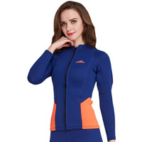 Sbart women 2MM Thick Warm Rubber Diving Wetsuits Patchwork Color diving suit Long Sleeve Swimwear Zipper Water Sport jackets