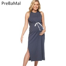 2019 Summer Pregnancy High Waist Bow Sleeveless Dress Side Fork opening Loose Casual Women Maternity Dresses Clothes C0025