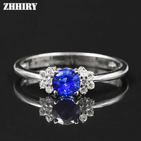 ZHHIRY Women Genuine 18K White Gold Natural Blue Sapphire Ring Lady Gemstone Rings Lettering With Certificate