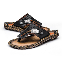 ALCUBIEREE Brand Men's Casual Shoes Genuine Leather Sandals Men Flip Flops Breather Slippers Plus Size Summer Sapato Masculino