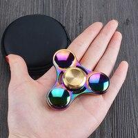 Hot Sell Sunglasses Style Tri Fidget Spinner Metal Hand Spinner EDC Gyro Stress Toys Torqbar Brass
