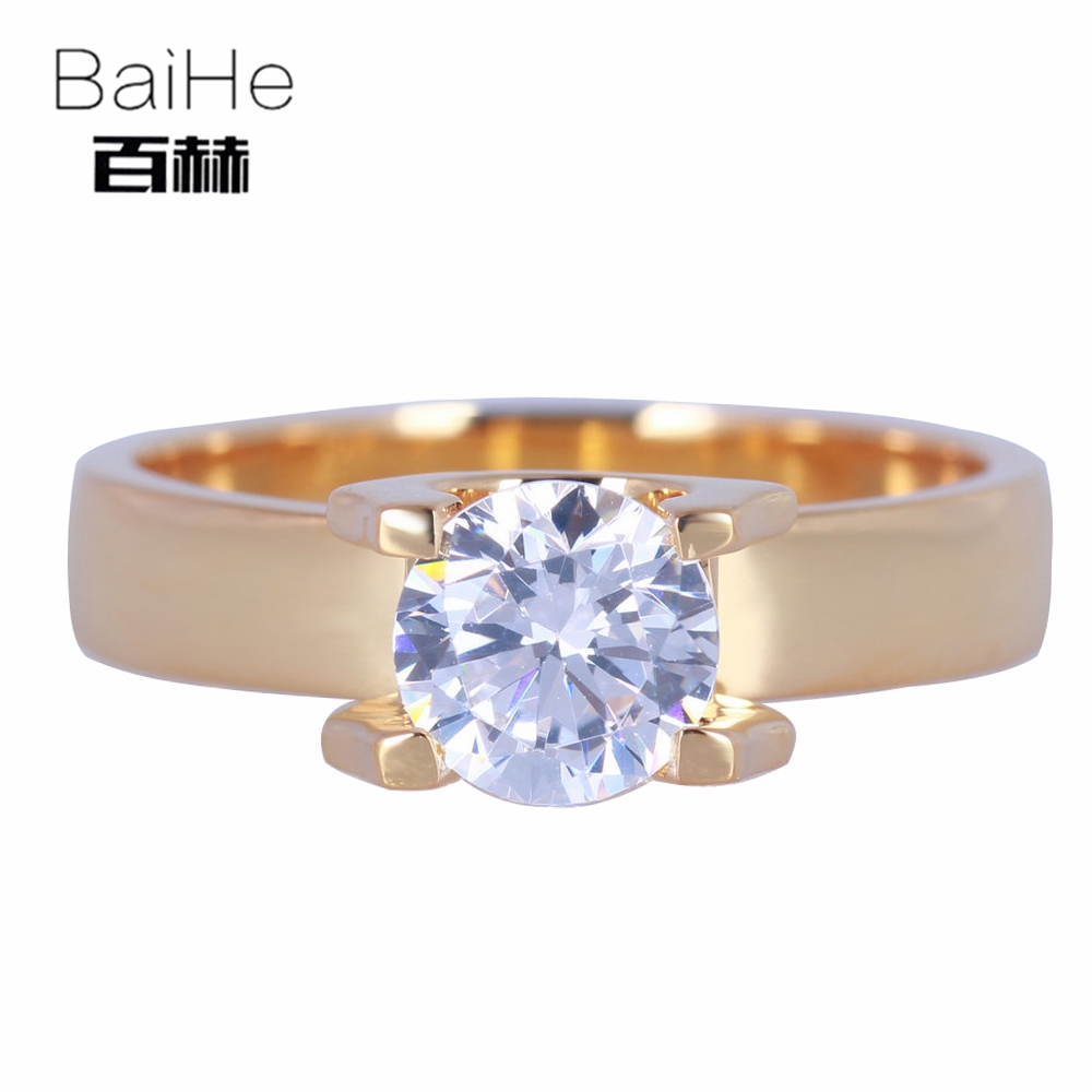 BAIHE Solid 14K Yellow Gold(AU585) 1.85CT Certified Genuine AAA Graded Cubic Zirconia/Flawless Party Women Cute/Romantic RingBAIHE Solid 14K Yellow Gold(AU585) 1.85CT Certified Genuine AAA Graded Cubic Zirconia/Flawless Party Women Cute/Romantic Ring