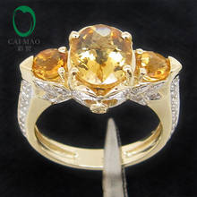3.08ct!! Solid 14k Yellow Gold Natural Citrine & Diamond Ring Three stones, Free Shipping, Wholesaler jewelry