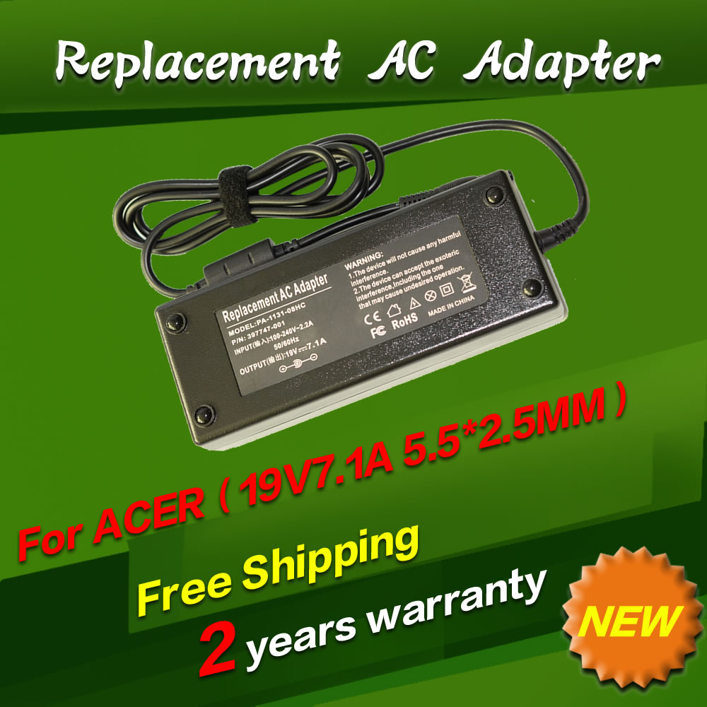 Replacement For Acer 19V 7.1A 5.5*2.5MM 135W Universal Notebook Laptop AC Charger Power Adaptor free shipping